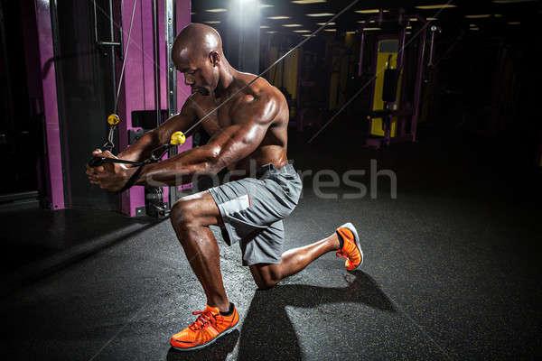 ケーブル 線 胸 フライ トレーニング 筋骨たくましい体 ストックフォト © arenacreative