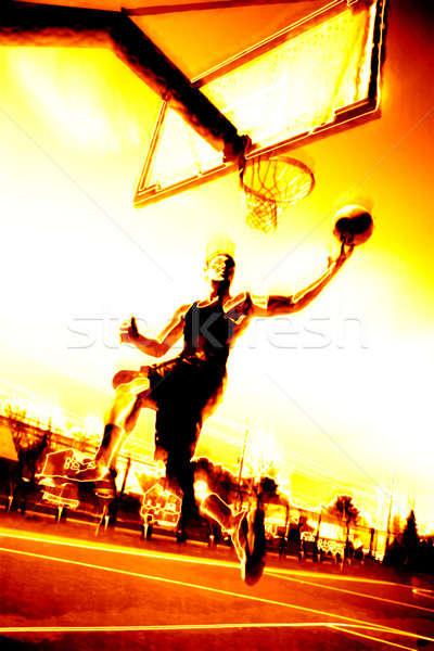 Fiery Basketball Player Stock photo © ArenaCreative