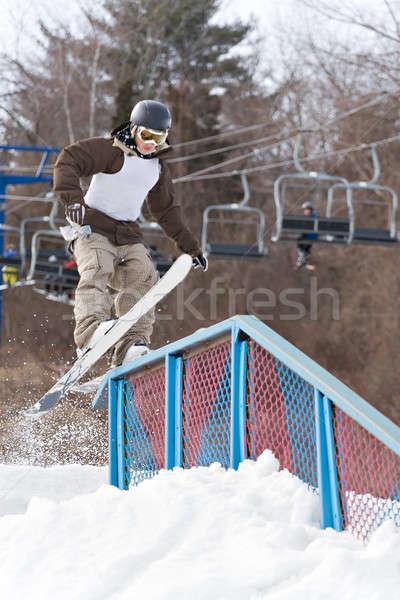 Sín fiatalember csúszda bemozdulás hó hegy Stock fotó © ArenaCreative