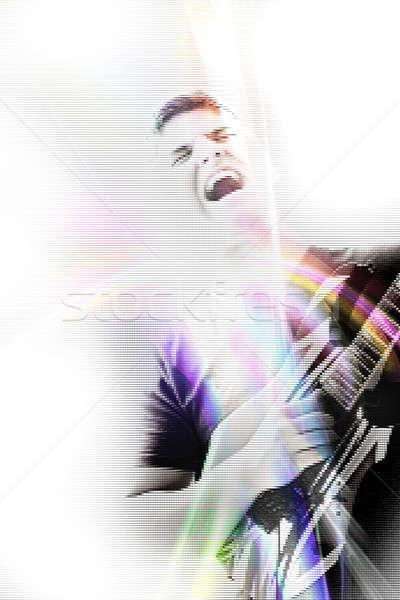 Funky gitaar zanger abstract illustratie jonge man Stockfoto © ArenaCreative