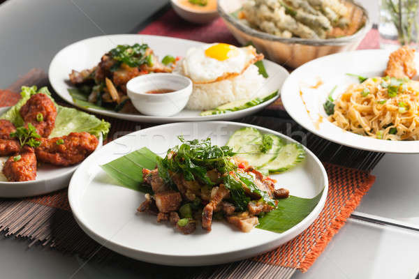 本物の タイ料理 料理 浅い ストックフォト © arenacreative