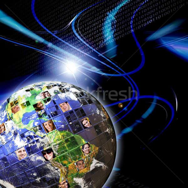 Globale in tutto il mondo rete persone illustrato montage Foto d'archivio © ArenaCreative