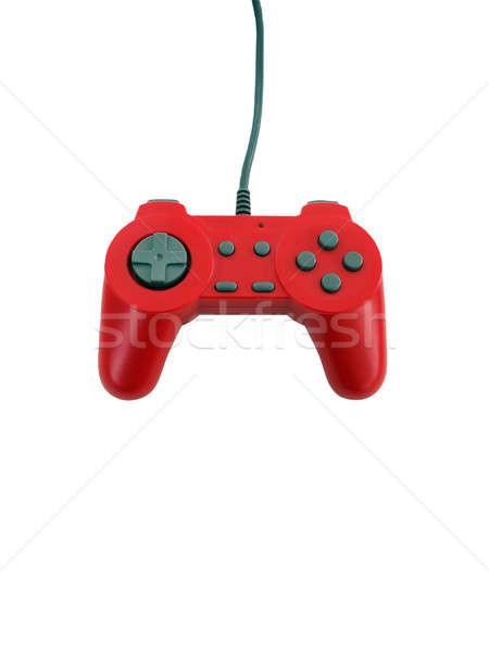 Kontroler gier czerwony odizolowany biały kopia przestrzeń Zdjęcia stock © ArenaCreative