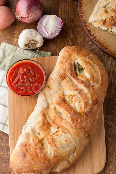 фаршированный хлеб домашний брокколи картофель чеснока Сток-фото © arenacreative
