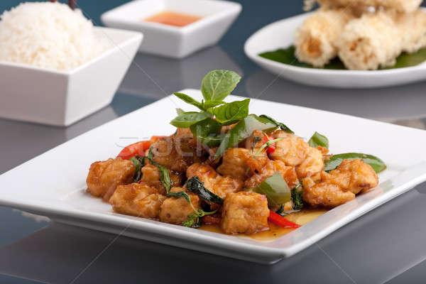Thai étel rizs friss keverés tofu fehér Stock fotó © ArenaCreative
