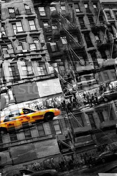 Foto stock: Abstrato · táxi · montagem · cidade · vida · amarelo