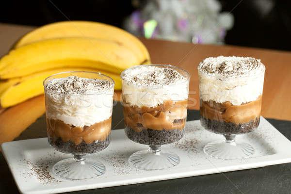 Banaan karamel desserts vers slagroom chocolade Stockfoto © arenacreative