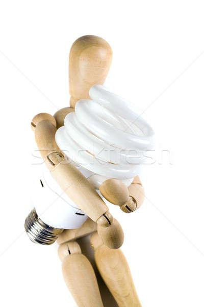 Kompakt fluoreszkáló villanykörte fából készült modell villanykörte Stock fotó © ArenaCreative