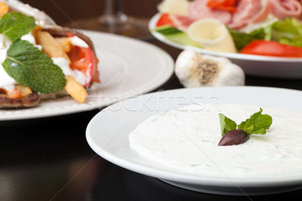 Zdjęcia stock: Grecki · sos · tradycyjny · kanapkę · mięsa · pomidorów