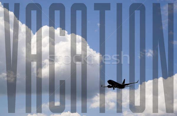 Vakáció repülés sziluett kereskedelmi repülőgép kék ég Stock fotó © ArenaCreative