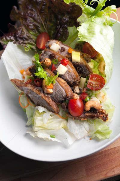 Thai ropogós kacsa saláta friss zöld Stock fotó © ArenaCreative