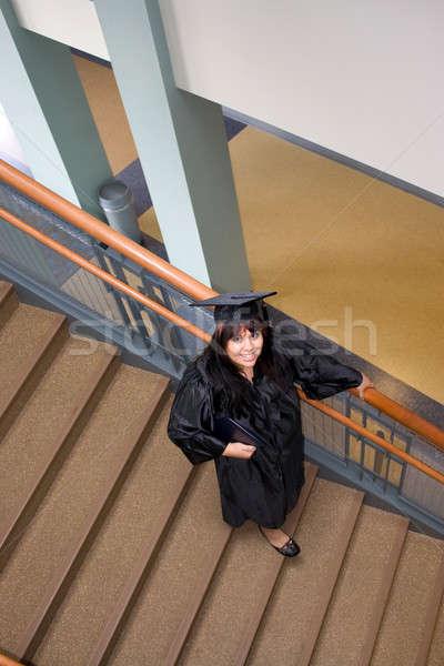 Tanult nő fiatal spanyol diplomás mosoly Stock fotó © ArenaCreative