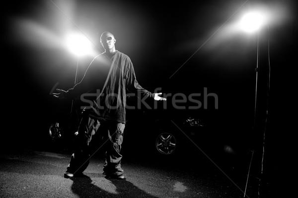 Cool vent kleding afro-amerikaanse jonge man Stockfoto © ArenaCreative