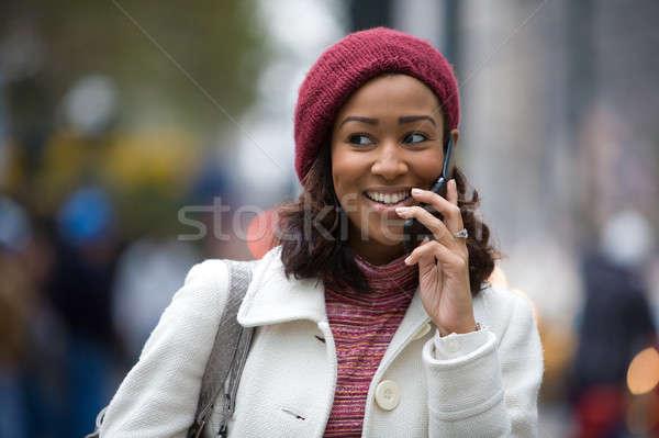 Stock fotó: Nő · mobiltelefon · vonzó · üzletasszony · telefon · munka