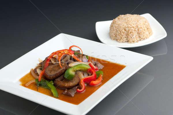 Spicy Thai Eggplant and Brown Rice Stock photo © ArenaCreative
