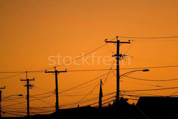 Erő vonal sziluettek távvezeték drótok lakóövezeti Stock fotó © ArenaCreative