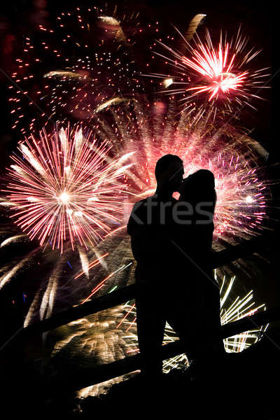 Stock photo: Fireworks Couple