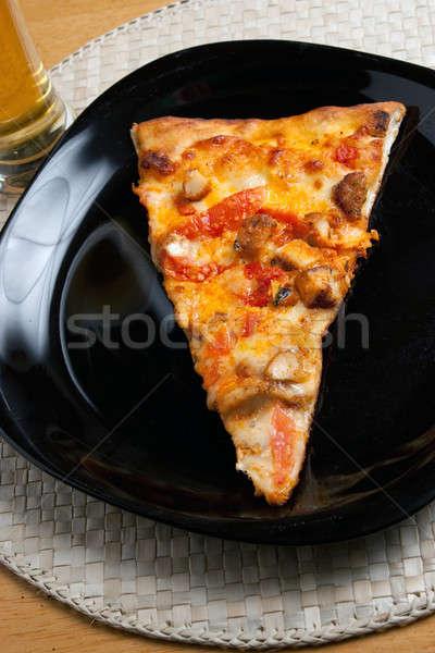 Stockfoto: Pizza · slice · plakje · kip · pizza · glas · gouden