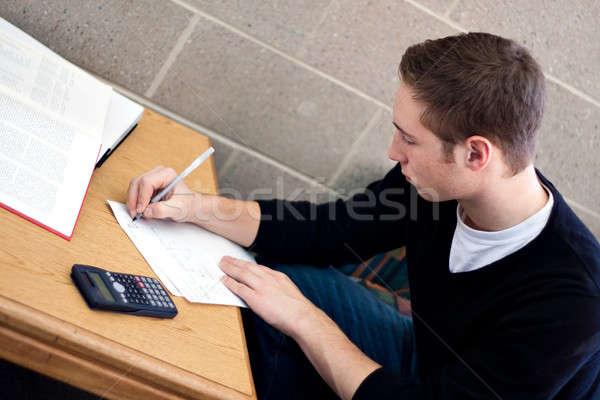 Zdjęcia stock: Student · praca · domowa · młodych · liceum · pracy