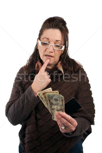 Nakit kredi orta yaşlı kadın dikkatlice eski moda plastik Stok fotoğraf © ArenaCreative