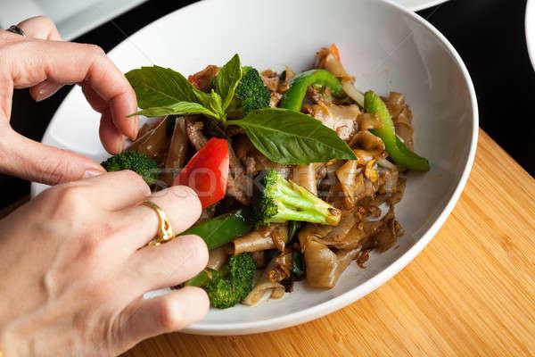продовольствие стилист блюдо Sweet базилик гарнир Сток-фото © arenacreative