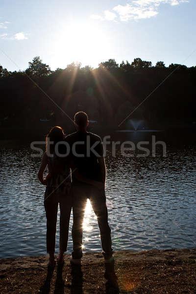 Back Lit Couple Silhouette Stock photo © ArenaCreative