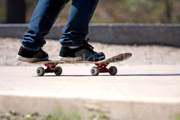 Stock photo: Skateboarders Feet Close Up