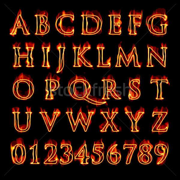Flaming Alphabet and Numbers Stock photo © ArenaCreative