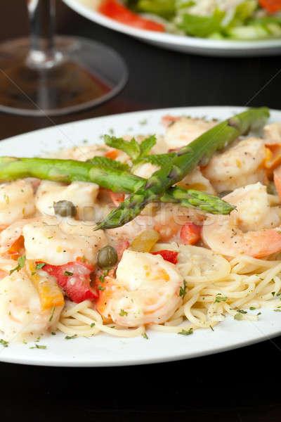 Сток-фото: креветок · спагетти · пасты · блюдо · вино