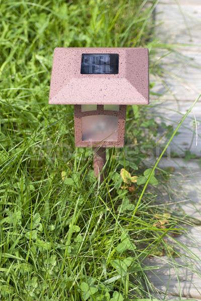 Foto d'archivio: Solare · lampada · giardino · salvare · elettrica