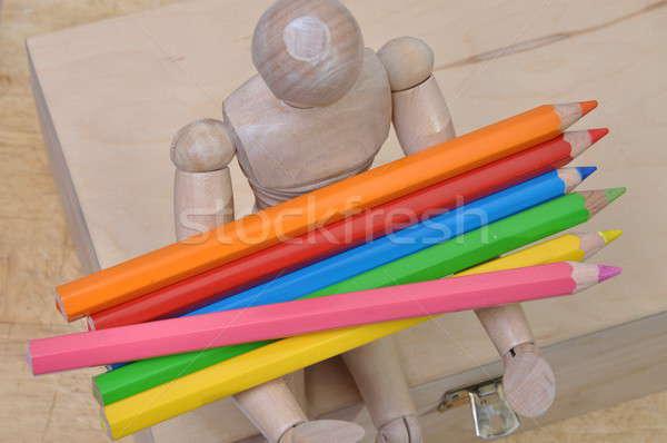 Madera maniquí crayones cuadro cuerpo Foto stock © Arezzoni
