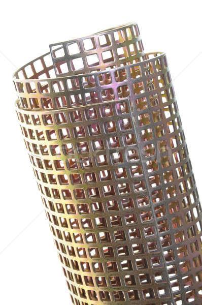 Roll of shiny metal surface background with square holes  Stock photo © Arezzoni