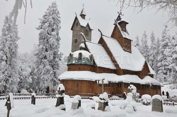 Wooden church with a bell tower Wang in Karpacz in winter Stock photo © Arezzoni