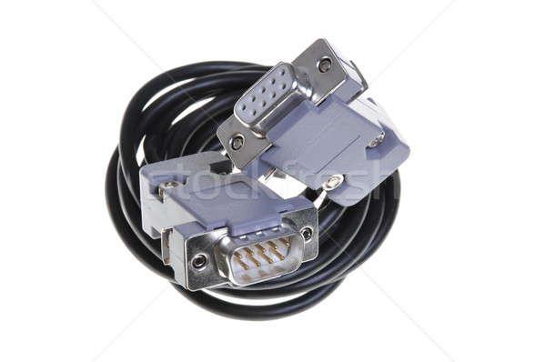 Kabel komputerowy odizolowany biały Internetu tle kabel Zdjęcia stock © Arezzoni