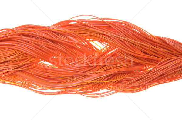 Foto stock: Naranja · red · ordenador · cables · resumen · diseno