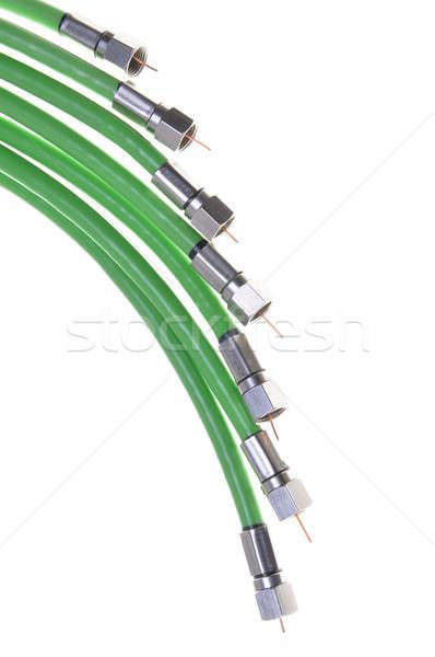 Green coaxial cable tv with connectors Stock photo © Arezzoni