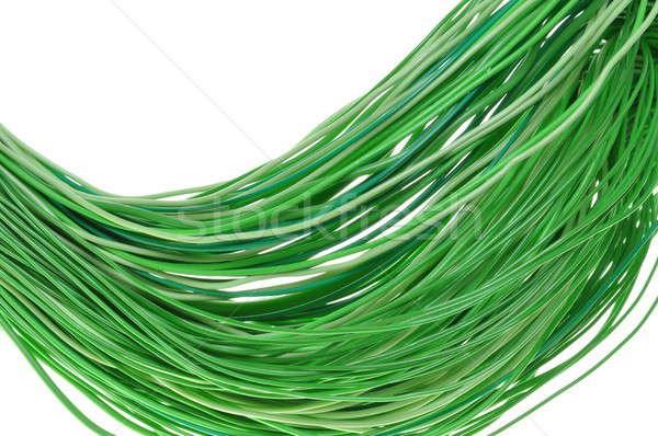 Stockfoto: Groene · energie · elektrische · draden · geïsoleerd · witte · computer