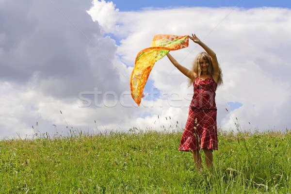 çayır genç kadın yeşil gökyüzü kadın mutlu Stok fotoğraf © Ariusz