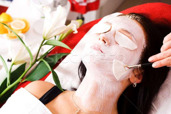 Maske rahatlatıcı güzellik salonu kadın kadın güzellik Stok fotoğraf © Ariusz