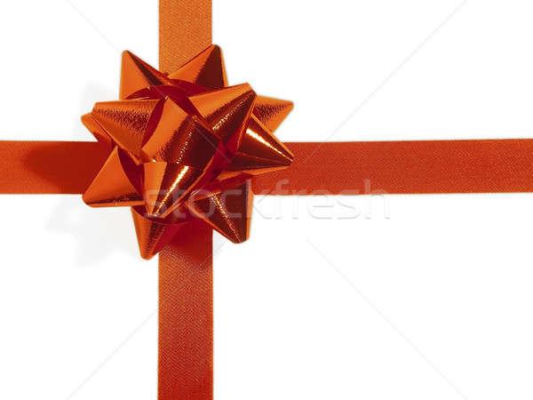 Noel yay kırmızı hediye dekorasyon ödül Stok fotoğraf © Ariusz