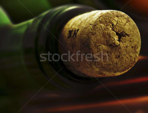 şarap meyve yeşil şişe beyaz içme Stok fotoğraf © Ariusz
