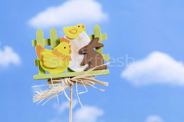 Oyuncak Paskalya gökyüzü bahar tavşan arka plan Stok fotoğraf © Ariusz