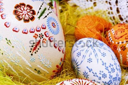 Renkli easter egg el boyalı boya yumurta Stok fotoğraf © Ariusz