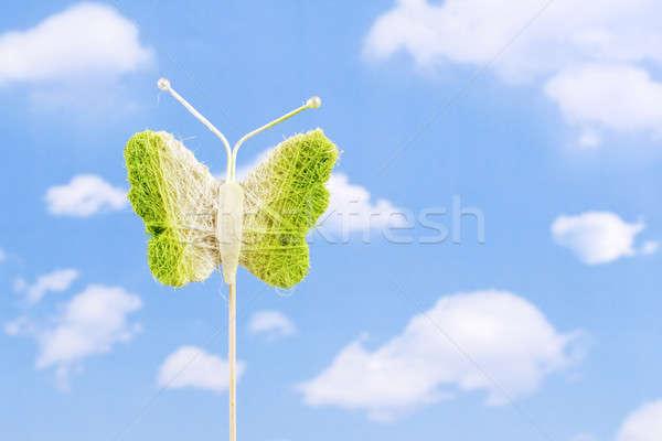 Kelebek yeşil oyuncak sopa gökyüzü arka plan Stok fotoğraf © Ariusz
