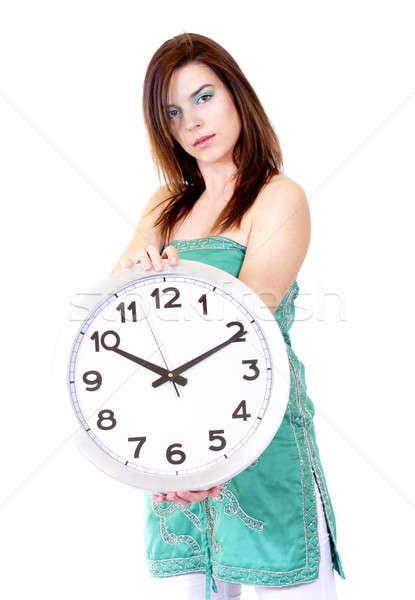 Zaman çalışmak kadın saat beyaz kadın Stok fotoğraf © Ariusz