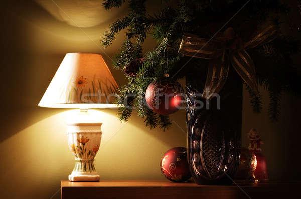 Noel dekorasyon cam top ağaç ışık Stok fotoğraf © Ariusz