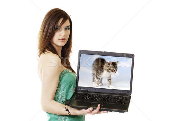 Kadın bilgisayarı beyaz bilgisayar kadın öğrenci dizüstü bilgisayar Stok fotoğraf © Ariusz