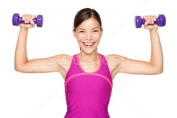 Foto d'archivio: Fitness · donna · pesi · sorridere · felice · isolato