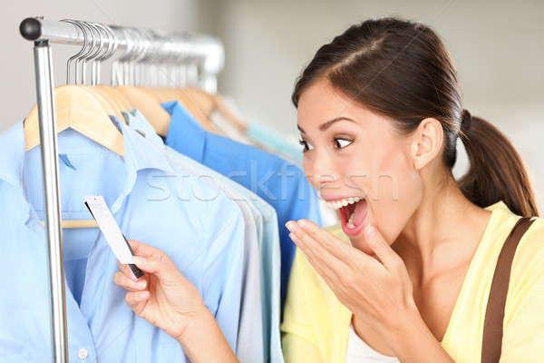 ストックフォト: 買い物客 · 驚いた · 販売 · 価格 · 女性 · 幸せ