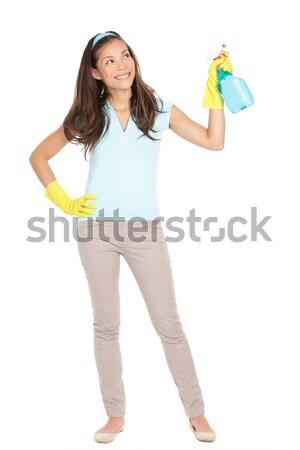 Foto d'archivio: Donna · delle · pulizie · punta · prodotto · testo · isolato